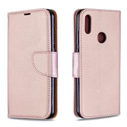 Classic Luxury Litchi Leather Phone Wallet Case for Huawei Y6 (2019) - Golden