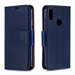 Classic Luxury Litchi Leather Phone Wallet Case for Huawei Y6 (2019) - Blue