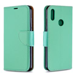 Classic Luxury Litchi Leather Phone Wallet Case for Huawei Y6 (2019) - Green