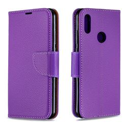 Classic Luxury Litchi Leather Phone Wallet Case for Huawei Y6 (2019) - Purple