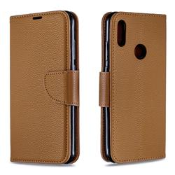 Classic Luxury Litchi Leather Phone Wallet Case for Huawei Y6 (2019) - Brown