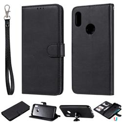 Retro Greek Detachable Magnetic PU Leather Wallet Phone Case for Huawei Y6 (2019) - Black