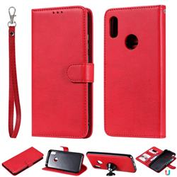 Retro Greek Detachable Magnetic PU Leather Wallet Phone Case for Huawei Y6 (2019) - Red