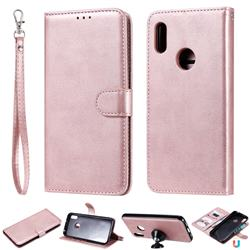 Retro Greek Detachable Magnetic PU Leather Wallet Phone Case for Huawei Y6 (2019) - Rose Gold