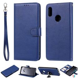 Retro Greek Detachable Magnetic PU Leather Wallet Phone Case for Huawei Y6 (2019) - Blue