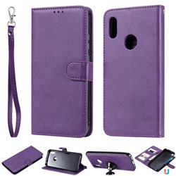 Retro Greek Detachable Magnetic PU Leather Wallet Phone Case for Huawei Y6 (2019) - Purple