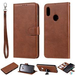 Retro Greek Detachable Magnetic PU Leather Wallet Phone Case for Huawei Y6 (2019) - Brown