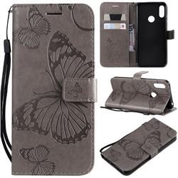 Embossing 3D Butterfly Leather Wallet Case for Huawei Y6 (2019) - Gray
