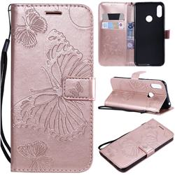 Embossing 3D Butterfly Leather Wallet Case for Huawei Y6 (2019) - Rose Gold