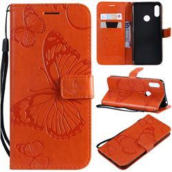 Embossing 3D Butterfly Leather Wallet Case for Huawei Y6 (2019) - Orange
