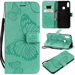 Embossing 3D Butterfly Leather Wallet Case for Huawei Y6 (2019) - Green