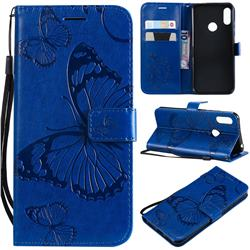 Embossing 3D Butterfly Leather Wallet Case for Huawei Y6 (2019) - Blue