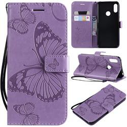 Embossing 3D Butterfly Leather Wallet Case for Huawei Y6 (2019) - Purple
