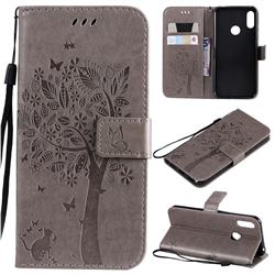 Embossing Butterfly Tree Leather Wallet Case for Huawei Y6 (2019) - Grey