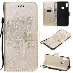 Embossing Butterfly Tree Leather Wallet Case for Huawei Y6 (2019) - Champagne