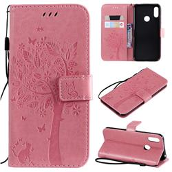Embossing Butterfly Tree Leather Wallet Case for Huawei Y6 (2019) - Pink