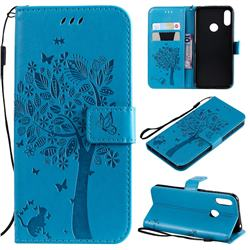Embossing Butterfly Tree Leather Wallet Case for Huawei Y6 (2019) - Blue