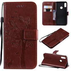 Embossing Butterfly Tree Leather Wallet Case for Huawei Y6 (2019) - Coffee