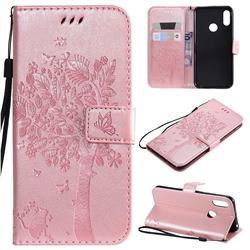 Embossing Butterfly Tree Leather Wallet Case for Huawei Y6 (2019) - Rose Pink