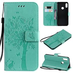 Embossing Butterfly Tree Leather Wallet Case for Huawei Y6 (2019) - Cyan