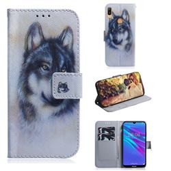 Snow Wolf PU Leather Wallet Case for Huawei Y6 (2019)