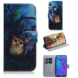 Oil Painting Owl PU Leather Wallet Case for Huawei Y6 (2019)