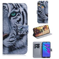White Tiger PU Leather Wallet Case for Huawei Y6 (2019)