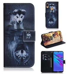 Wolf and Dog PU Leather Wallet Case for Huawei Y6 (2019)