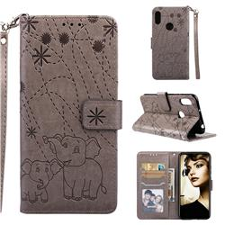Embossing Fireworks Elephant Leather Wallet Case for Huawei Y6 (2019) - Gray