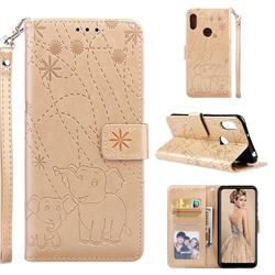 Embossing Fireworks Elephant Leather Wallet Case for Huawei Y6 (2019) - Golden