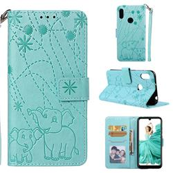 Embossing Fireworks Elephant Leather Wallet Case for Huawei Y6 (2019) - Green
