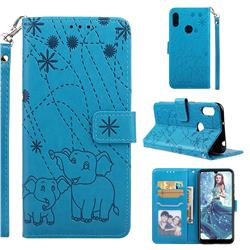 Embossing Fireworks Elephant Leather Wallet Case for Huawei Y6 (2019) - Blue