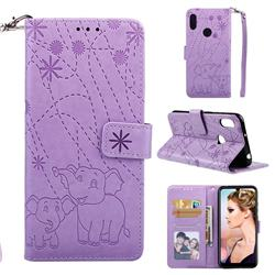 Embossing Fireworks Elephant Leather Wallet Case for Huawei Y6 (2019) - Purple