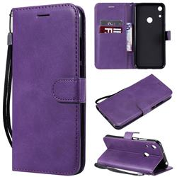 Retro Greek Classic Smooth PU Leather Wallet Phone Case for Huawei Y6 (2019) - Purple