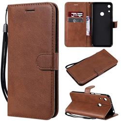 Retro Greek Classic Smooth PU Leather Wallet Phone Case for Huawei Y6 (2019) - Brown