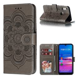 Intricate Embossing Datura Solar Leather Wallet Case for Huawei Y6 (2019) - Gray
