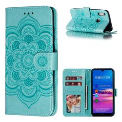 Intricate Embossing Datura Solar Leather Wallet Case for Huawei Y6 (2019) - Green