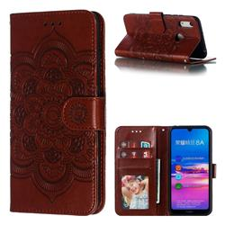 Intricate Embossing Datura Solar Leather Wallet Case for Huawei Y6 (2019) - Brown