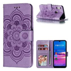 Intricate Embossing Datura Solar Leather Wallet Case for Huawei Y6 (2019) - Purple