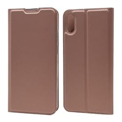 Ultra Slim Card Magnetic Automatic Suction Leather Wallet Case for Huawei Y6 (2019) - Rose Gold