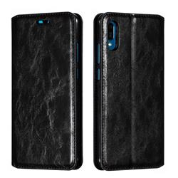 Retro Slim Magnetic Crazy Horse PU Leather Wallet Case for Huawei Y6 (2019) - Black