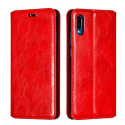 Retro Slim Magnetic Crazy Horse PU Leather Wallet Case for Huawei Y6 (2019) - Red