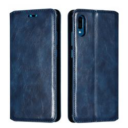 Retro Slim Magnetic Crazy Horse PU Leather Wallet Case for Huawei Y6 (2019) - Blue