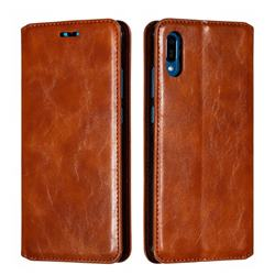 Retro Slim Magnetic Crazy Horse PU Leather Wallet Case for Huawei Y6 (2019) - Brown