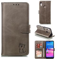 Embossing Happy Cat Leather Wallet Case for Huawei Y6 (2019) - Gray