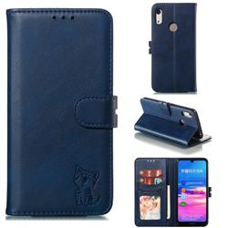 Embossing Happy Cat Leather Wallet Case for Huawei Y6 (2019) - Blue