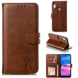 Embossing Happy Cat Leather Wallet Case for Huawei Y6 (2019) - Brown