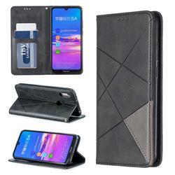 Prismatic Slim Magnetic Sucking Stitching Wallet Flip Cover for Huawei Y6 (2019) - Black