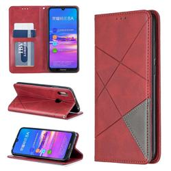 Prismatic Slim Magnetic Sucking Stitching Wallet Flip Cover for Huawei Y6 (2019) - Red