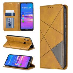 Prismatic Slim Magnetic Sucking Stitching Wallet Flip Cover for Huawei Y6 (2019) - Yellow